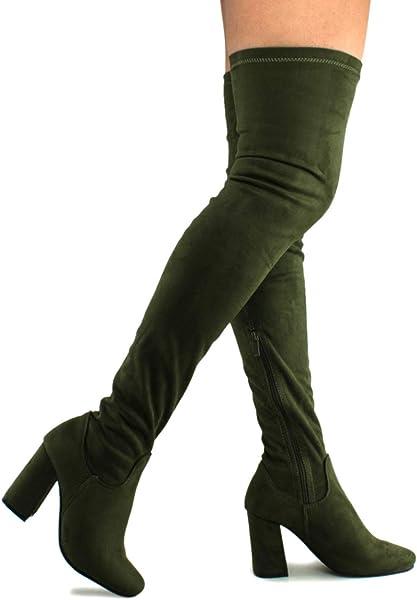 85d6527e195 Premier Standard - Women s Fashion Comfy Vegan Suede Block Heel Thigh High  Over The Knee Boots