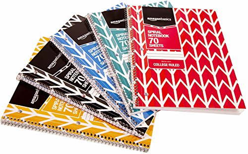 AmazonBasics College Ruled Wirebound Notebook, 70-Sheet, Assorted Lattice Pattern Colors, 45-Pack