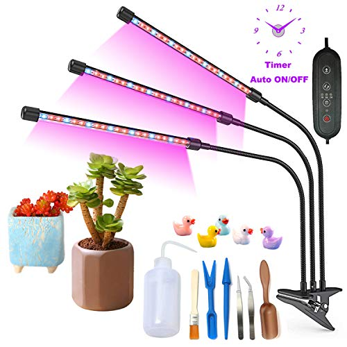 ZEETOON Grow Light Full Spectrum Plants Lights Desktop Growing Lamp 30W 3H/6H/12H Timer Auto ON/OFF 1/2/3 Head Dimmable for Indoor Garden with 7pcs Succulent Planting Tools Set, 5 Cute Duck Decoration