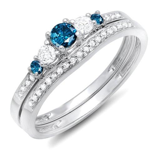 (0.45 Carat (ctw) 14k White Gold Round Blue And White Diamond Ladies 5 Stone Bridal Engagement Ring Matching Band Set 1/2 CT (Size 7.5))