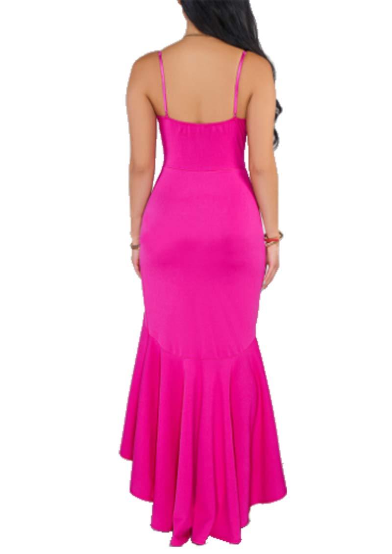 Uni Clau Women Ruffle Dress - Elegant Sleeveless Long Cocktail Bodycon Dress Rose Red