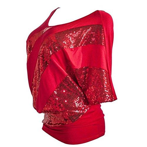 Chiffon Sequin Silk - iTLOTL Women Sequin Causel T-Shirt Top Cold Shoulder Blouse Plus Size(XL,Red)