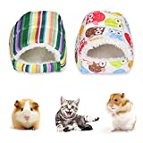 PinShang Mini Hamster Warm Pad Sleeping Bed Nest Plush Soft Rabbit Guinea Pig House Small Animal Cage Winter owl L