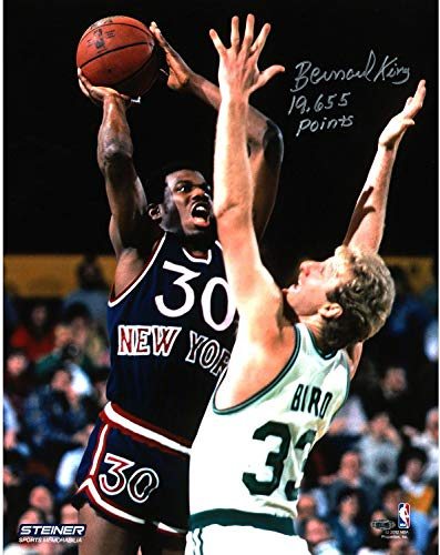 Bernard King Signed vs. Larry Bird 16x20 Photo w/ 19655 Pts Insc - Steiner Sports Certified - Autographed NBA Photos
