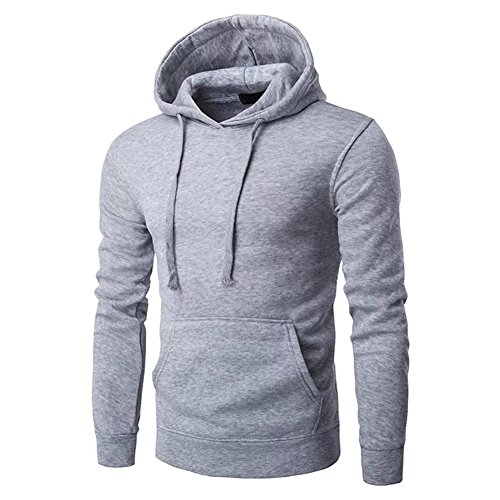 Kmety Men's Full Zip Elbow Patch Soft Lining Drawstring Hoodie Grey (Button Vest Full Baseball Jersey)
