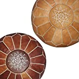 Colorful Ottoman Coffee Table set of 2 handmade leather Moroccan poufs ottoman round footstool color dark almond and light almond Unstuffed