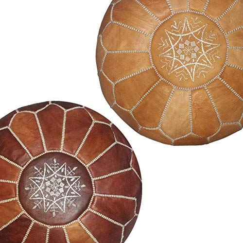 set of 2 handmade leather Moroccan poufs ottoman round footstool color dark almond and light almond Unstuffed