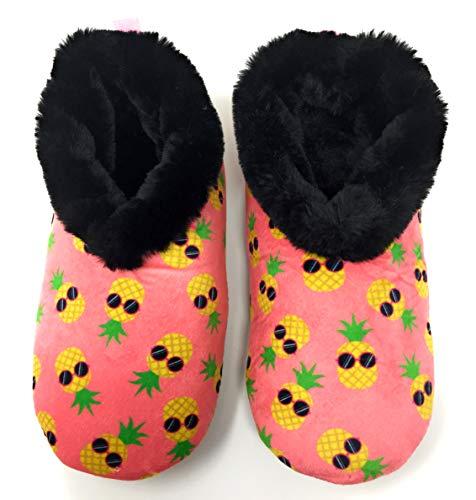 JYinstyle Women's OGZ Pattern Pineapple Dude Super Soft Slippers M (Shoe Size 7/8)