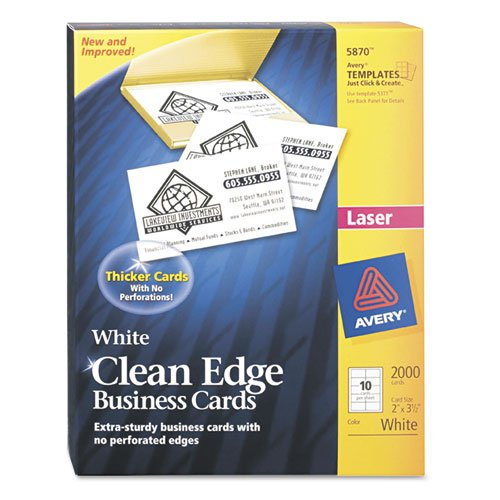 Avery Two-Side Printable Clean Edge Business Cards, Laser, 2 x 3 1/2, White, 2000/Box by Avery
