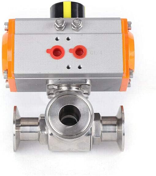 Pneumatic Ball Valve Actuator 304 Food Grade Stainless Steel Sanitary 3 Way T Port Tri-Clamp Pneumatic Actuated Ball Valve PTFE Sealing (1.5 Inch Port Diameter, 304 Stainless Steel)