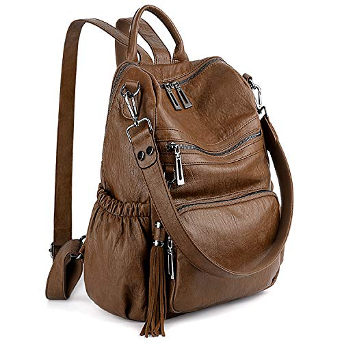 UTO Women Backpack Purse PU Washed Leather Convertible Ladies Rucksack Tassel Zipper Pocket Shoulder Bag A Brown Double Handle Shopper Tote