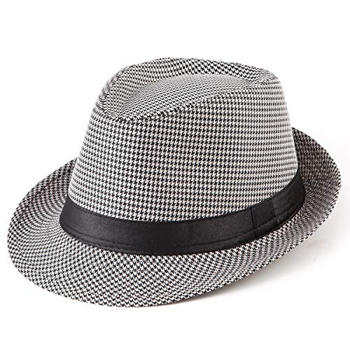 - Fadora Hats Caps for Men - Black Hats Plaid Trilby Fedora Hat with Black Band