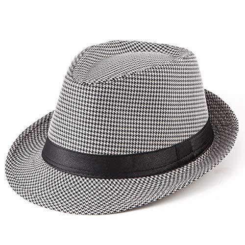 Fadora Hats Caps for Men - Black Hats Plaid Trilby Fedora Hat with Black Band