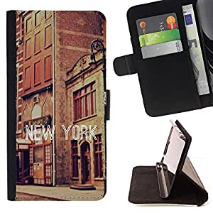 BullDog Case - FOR/Sony Xperia Z2 D6502 / - / new york text street buildings city vintage /- Monedero de cuero de la PU Llevar cubierta de la caja con el ID Credit Card Slots Flip funda de cuer