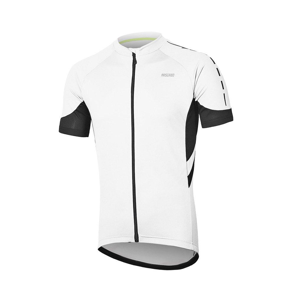 Arsuxeoメンズ半袖サイクリングジャージー自転車MTBバイクシャツ636 B07CGL2F2N US XXL|ホワイト ホワイト US XXL
