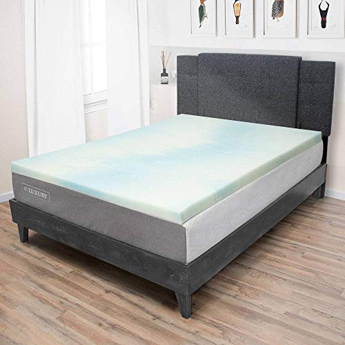eLuxurySupply 1.5 Inch Memory Foam Mattress Topper - Temperature Regulating Mattress Pad - 2 lb Density for High Support and High Response - CertiPUR-US Certified - Made in The USA - Full Size