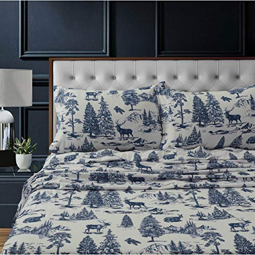 3 Piece Girls Boys Navy White Toile Deer Sheet Twin Set, Blue Elk Kids Bedding Teen Bedroom Hunting Themed Moose Animal Print Winter Adventure Pattern Camping Pine Tree Mountain Wildlife, Flannel
