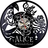 Cheap Alice in Wonderland Theme Creative Vinyl Wall Clock