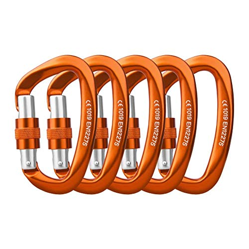 Locking Carabiner - 25kN 5600lb Climbing Carabiner Screw Gate D Shape Carabiner Orange (Pack of 2)