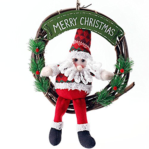 Christmas Wreath for Front Door | Plush Santa with Merry Christmas Sign | Holiday Wreath for Window 10 Inch by Season Essential