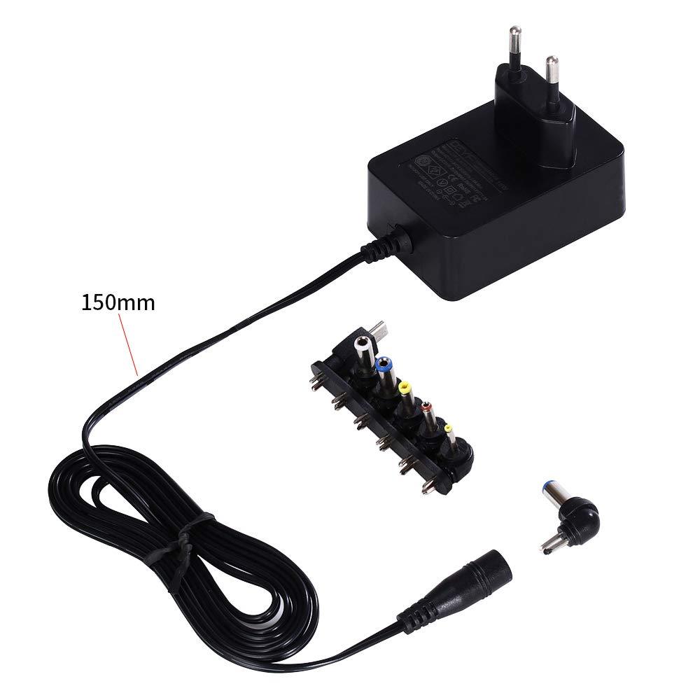 DEYF Enchufe negro para la UE 5V 3.0A 2.5A 2A 1.5A 1.0A 0.5A 0.5A 0.5A Interruptor de CA Fuente de alimentación Cargador de pared con 6 puntas DC para ...