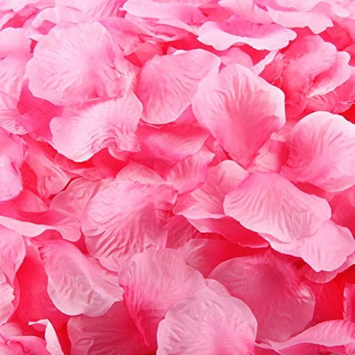 "LEFVâ""¢ 1000pcs Silk Rose Petals Artificial Flower Wedding Party Vase Decor Bridal Shower Favor Centerpieces Confetti Decorations (40 Colors for Choice)- Pink"