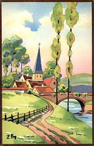 Watercolor Landscape of Lane Into Town and Bridge Art Original Vintage (Watercolor Art Card)