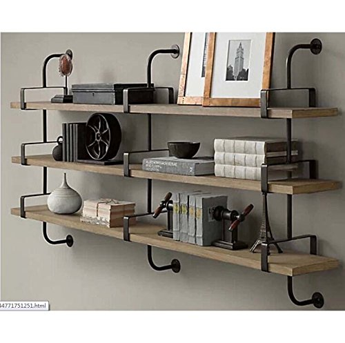 Price comparison product image Industrial Pipe Design Metal & Wood Shelf Ann (DIY-3LVL-WALL-180)