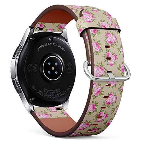 Compatible with Samsung Galaxy Watch (46mm) - Quick-Release Leather Band Bracelet Strap Wristband Replacement - Bouquet Rose Invitation Card Wedding