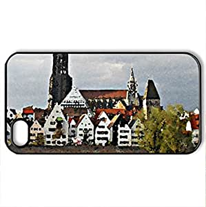 Ulm - Case Cover for iPhone 4 and 4s (Watercolor style, Black)