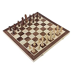 """Chess Set, Amerous 15""""x15"""" Folding Magnetic Wooden Standard Chess Game Board Set with Wooden Crafted Pieces and Chessmen Storage Slots"""