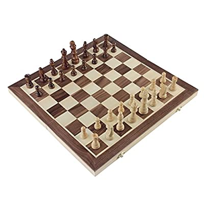 "Chess Set, Amerous 15""x15"" Folding Magnetic Wooden Standard Chess Game Board Set with Wooden Crafted Pieces and Chessmen Storage Slots"