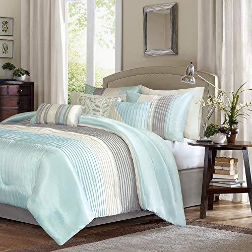 Madison Park Amherst 7 Piece Comforter Set, Aqua, Queen (And Aqua Grey Bedding)