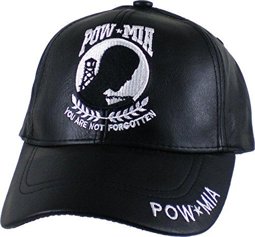 (K&S Unique Pow MIA Logo Leather Mens Cap [Black - Adjustable])