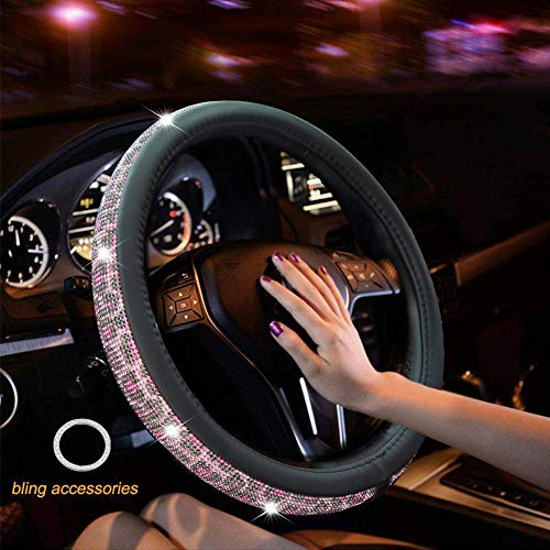 Crystal Diamond Steering Wheel Cover, PU Leather with Colorful Leopard Bling Bling Rhinestones, Universal 15inch / 38cm for Women Girls, Pink (Wheel Pink Cover Leopard Steering)