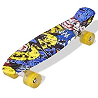 Deals on Durable Patterned Skateboard with Yellow Wheels