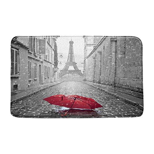 LIVEFUN Vintage France Eiffel Tower Bath Mat Paris Under Red Umbrella in France Street City Cityscape Raindrop…