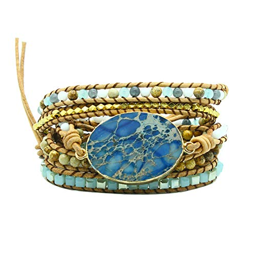 Bonnie Gold Plated Wrap Natural Stones Leather Wrap Around Stone Bracelet 5 Layer Natural Jasper Crystal Beaded Leather Bohemian Tribal Bracelet (Blue Imperial Jasper)