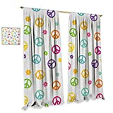 Groovy Room Darkening Wide Curtains Peace Symbol Lifestyle Sign Slogan Celebration Merry Jolly Happy Theme Artful Design Customized Curtains W120 x L108 Multicolor