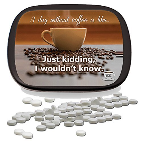 A Day Without Coffee Mints – Unique Coffee Gifts for Coffee Lovers White Elephant Ideas Candy Gifts for Adults Peppermint Breath Mints Stocking Stuffers Funny Friend Gift Coffee Clutch ()