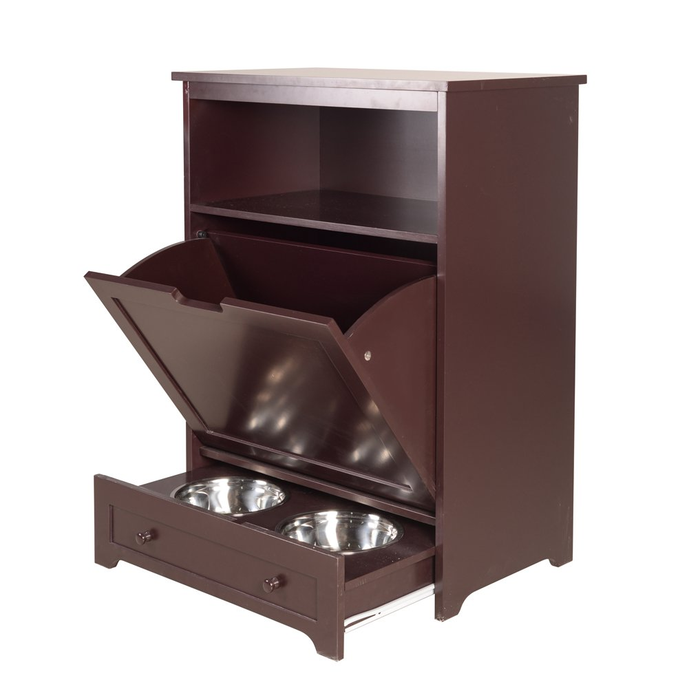 Facilehome Pet Feeder Station Pet Food Cabinet Pet Toy Storage Organizer,Brown by Facilehome
