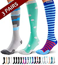 SB SOX 3-Pair Compression Socks (15-20mmHg) for Men & Women – Great Quality Comfortable Socks, Easy to Put On – Best Socks for Daily/Any Use, Running, Nurse, Travel (07 – Multi-color, Small/Medium)