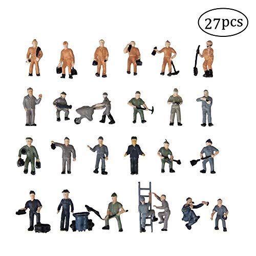27PCS 1:87 Train People Figures, Gdaya HO Scale People Hand Painted Railroad Worker Model Train Figures with Ladder and Bucket Railway Scenery Layout (Model People Figures)