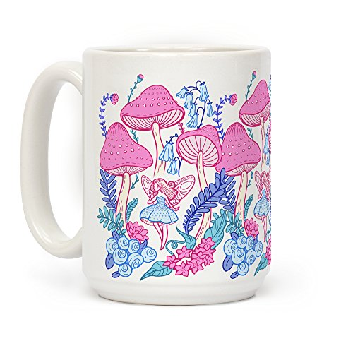 LookHUMAN Pastel Fairy Garden White 15 Ounce Ceramic Coffee Mug