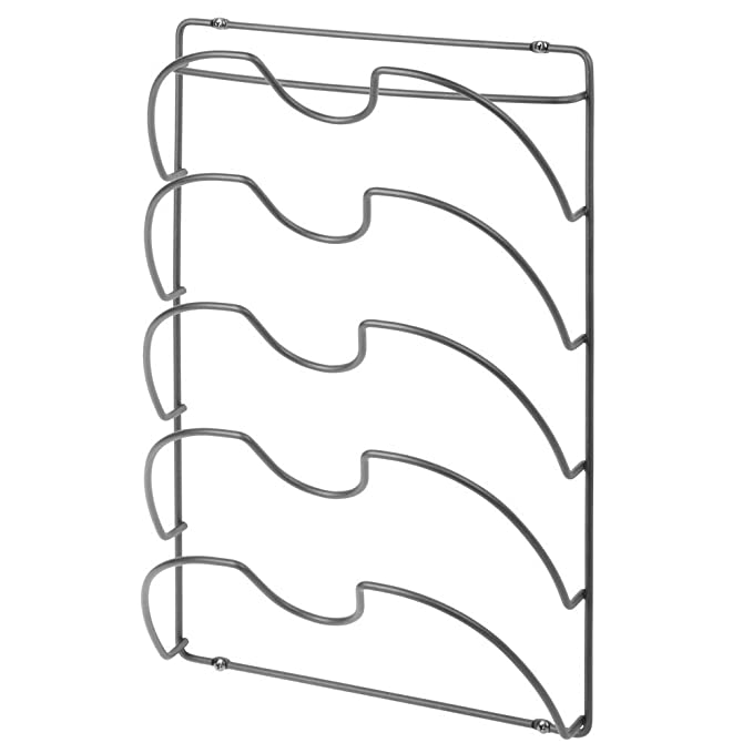 Amazon.com: mDesign Metal Wire Pot and Pan Lid Rack Organizer for Kitchen Cabinet Doors or Wall Mount - Upright Storage Holder with 5 Slots - Graphite Gray: ...