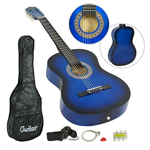ZENY Beginners 38'' Acoustic Guitar Package Kit for Right-handed Starters Kids Music Lovers w/ Case, Strap, Tuner, and Pick (Blue) - Image 7