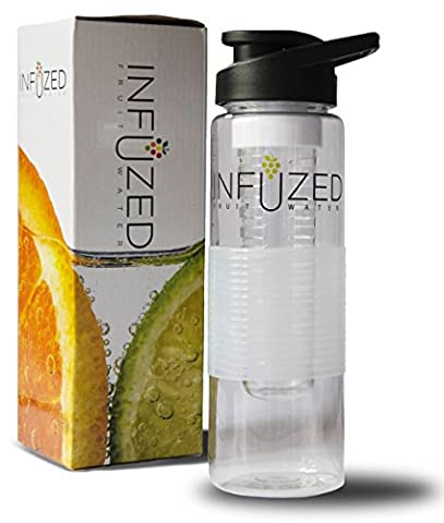 Infuzed Fruit Infuser Water Bottle with Rubber Grip and Flip Top Lid and Recipe E-Book