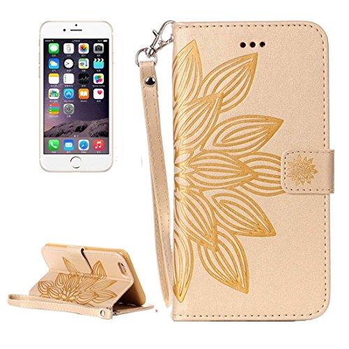 Protege tu iPhone, Para el iPhone 5 y 5s y SE Crazy Horse Textura media flor de impresión Horizontal Flip caja de cuero con titular y ranuras para tarjetas y billetera y cordón Para el teléfono celula Oro