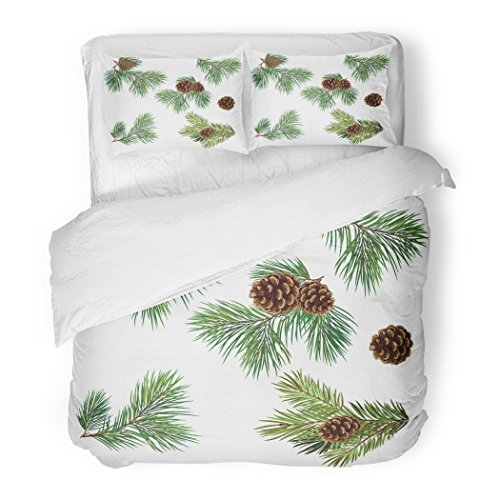 SanChic Duvet Cover Set Green Collection of Christmas Tree Branches Pine Cones Decorative Bedding Set with Pillow Case Twin Size (Pine Collection Bedding Cone)