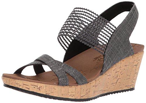 (Skechers Cali Women's Beverlee-High Tea Wedge Sandal,black,7 M US)